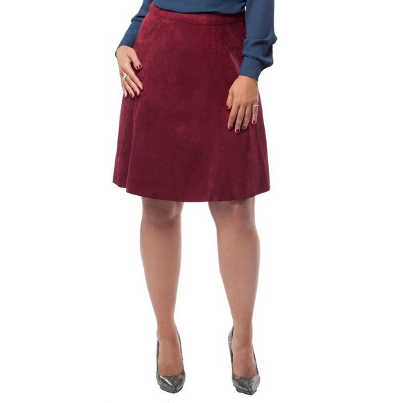 350c271a7e MYNT 1792 Burgundy Faux Suede Fit and Flare Skirt.  M_5a47020d8290af46f013d6a8